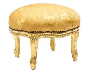 Pouff poggiapiedi sgabello foglia oro legno e velluto oro da