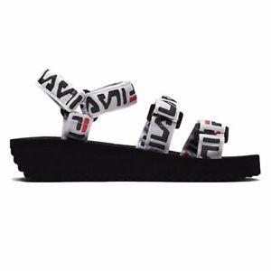 black and white fila sandals