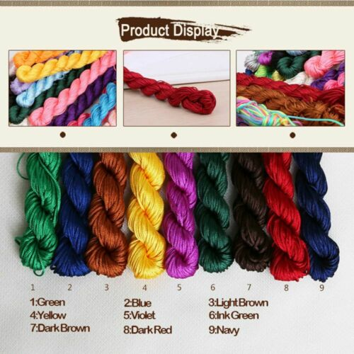 2mm 20m Diy Thread Rattail Beading Braided Cords Nylon Soft Satin Chinese Knot