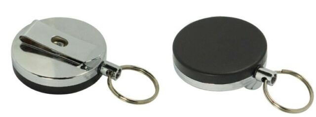 """2PC Steel Retractable Pull Chain Reel Recoil Key Ring Belt Clip Cord Length 28"""""""