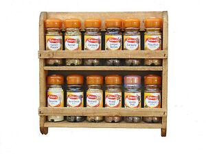 Wooden Spice Rack Wall Mounted Pine Shelf Kitchen