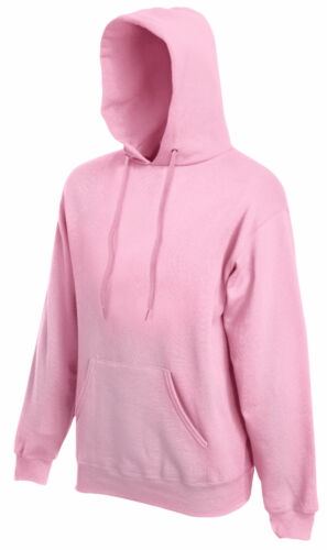 FRUIT OF THE LOOM HOODED TOP HOODIE LIGHT PINK S M L XL XXL