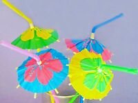 Wholesale Lot 36 Hibiscus Parasol Umbrella Straws Luau Pool Party Supplies