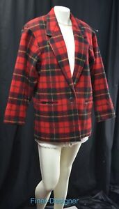 Burron Wool Vtg Blazer Jacket Nwts Adolfo Boyfriend Coat Plaid Womens Blend L Sz YnFFOPd