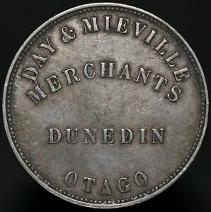 1857-New-Zealand-Day-amp-Mieville-Dunedin-Penny-Token-Copper-KM-Coins