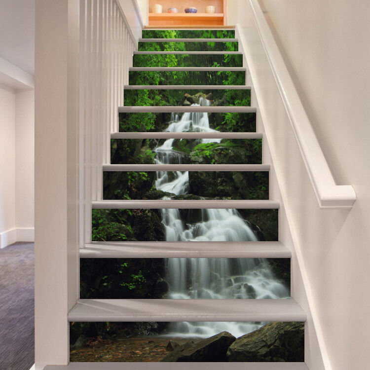 3D Waterfall In Forest 74 Risers Decoration Photo Mural Vinyl Decal Wallpaper CA