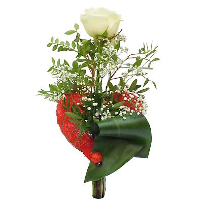In Rotem Herz Valentinstag Durchblutung Aktivieren Und Sehnen Und Knochen StäRken Langstielige Weiße Rose ca. 50 Cm Sanft Blumenstrauß