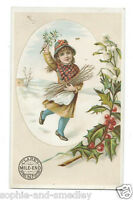 Victorian Trade Card - Clark's Mile-End Spool Cotton - Winter Scene, Girl, Holly