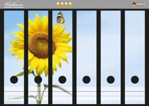 Sonnenblume Schmetterling Wallario Ordnerrücken selbstklebend 6 breite Ordner