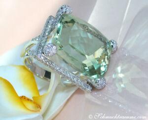 Exquisit-Stattlicher-Prasiolith-Ring-mit-Brillanten-23-91-ct-WG-750-ab-10-000