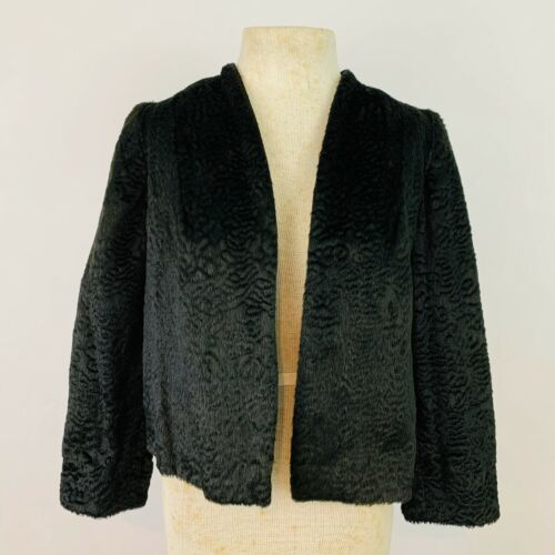 Vintage 1940's Size Medium Black Lambswool Bolero