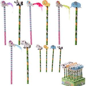 Kids Boys Girls School Stationery Zoo Elephant Panda Lion /& Zebra Wood Pencil