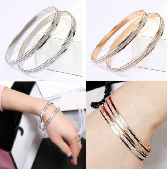 a Pair Stylish Scrub Shimmering Rose Gold & Silver Plated Cuff Bracelet Gift