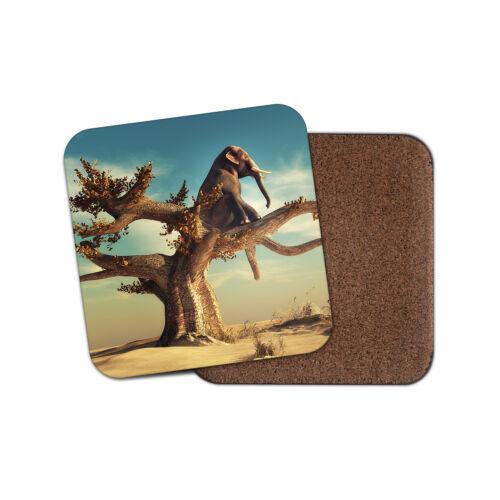 Méditant éléphant Coaster-Afrique animaux sauvages Réfléchissant esprit cadeau #15075