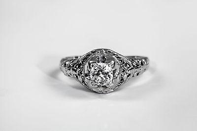 Antique 1920s .50ct VS G Old Euro Diamond 18k White Gold Filigree Ring