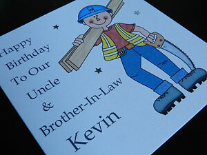 Image Is Loading Personalised Handmade Carpenter Birthday Card Dad Brother Friend