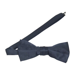 Navy Blue Satin Banded Bow Tie