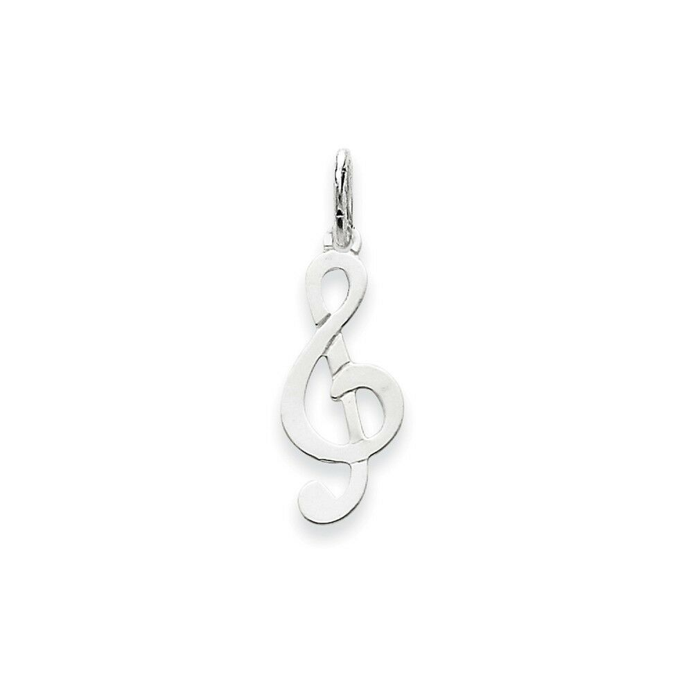14k White gold Polished Treble Clef Charm 25x8mm 0.34gr
