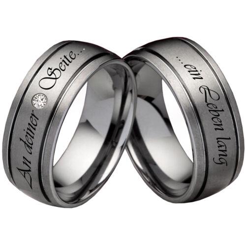 alianzas anillos pareja de volframio con circonita anillos grabado láser w760 Los anillos de boda