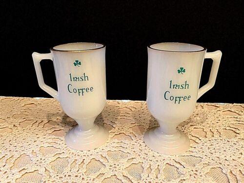 Federal Milk Glass Pedestal Gold Rim w Shamrock Design VTG 2 Irish Coffee Mugs