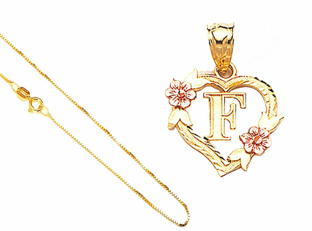 14k Solid gold Alphabet Letter A to Z in Heart Flower Pendant 18  gold Box Chain