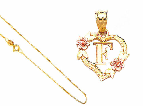 "14k Solid Gold Alphabet Letter A to Z in Heart//Flower Pendant 18/"" Gold Box Chain"