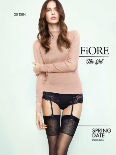 Fiore Spring date 20 den sheer stockings floral finish garters.reinforced toe