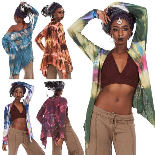 Festival Tie Die Open Top Ladies Boho Summer Jacket Tie Dye Hippy Cardigan