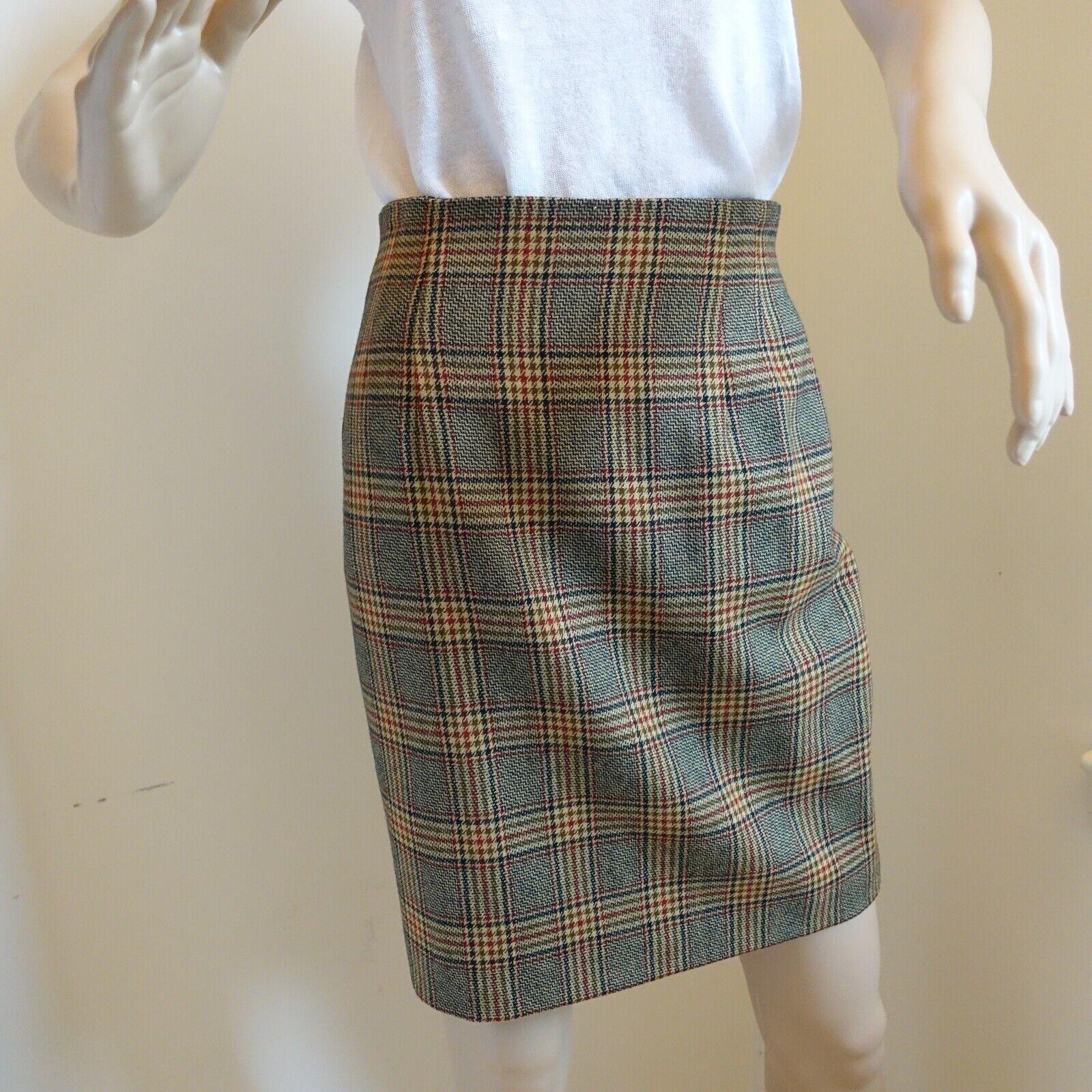 Jones New York Petite A-Line 100% Wool Houndstooth Plaid Skirt Sz 6P