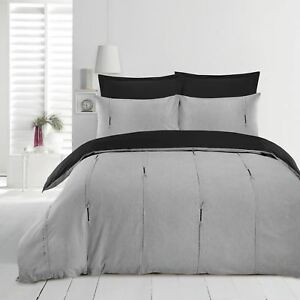 Lambert-Luxury-Easy-Care-Pintuck-Pleat-Soft-Quilt-Duvet-Cover-Bedding-Set-Grey