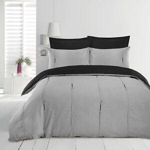 Luxe-Lambert-vertical-Pintuck-plissee-Soft-Couette-Parure-De-Lit-Gris-amp-Noir