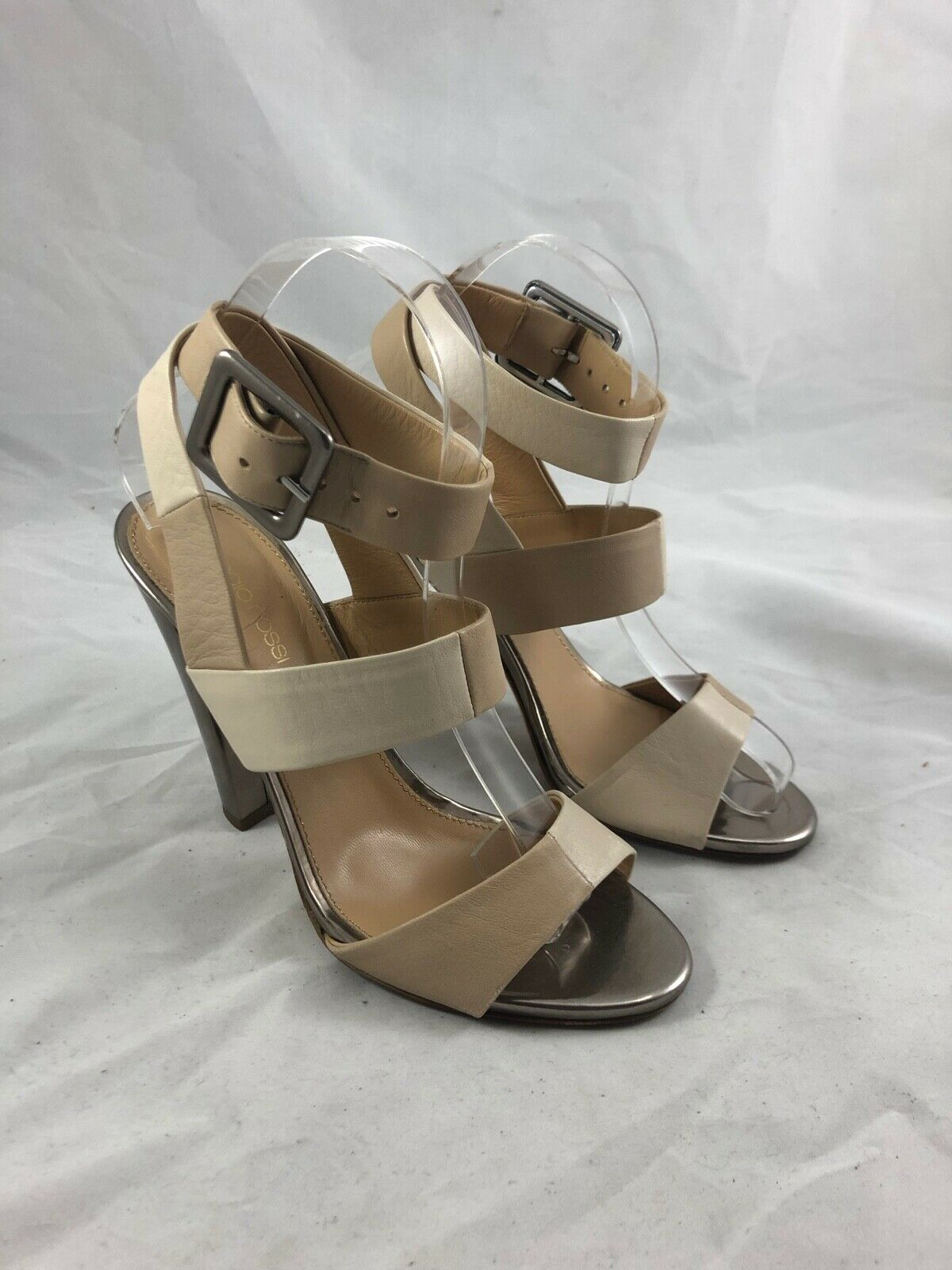 Sergio Rossi Two Tone Leather Ankle Wrap Sandal in Tan Nude Size 37