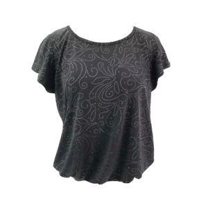 SJS-Womens-Blouse-Black-Short-Sleeve-Scoop-Neck-Rhinestone-Top-Petites-XL