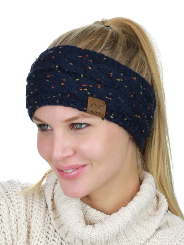 C.C Soft Stretch Winter Warm Cable Knit Fuzzy Lined Ear Warmer CC Headband