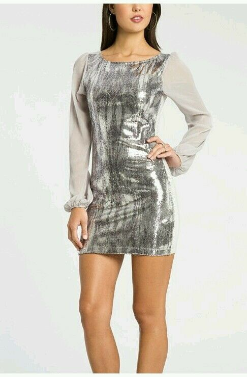 GUESS BY BY BY MARCIANO EXCLUSIVE FREJA GREY SEQUIN MINI DRESS 88c4ad