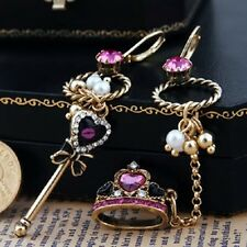 New Betsey Johnson Sexy Stud Dangle Crown Key Royal Top Fashion Jewelry Earrings