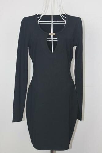 KEYHOLE FRONT BLACK PARTY DRESS BODYCON MINI LONG SLEEVED CELEB STYLE  UK 8-14