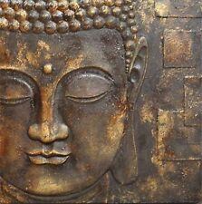 Black Gold Buddha Outdoor Canvas Garden Wall Art Picture 57cm X