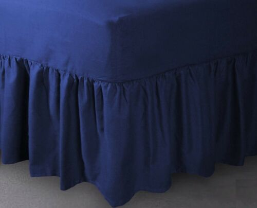 """24/"""" Deep Luxury Percale Cotton Double Bed Mattress Valance Sheet Royal Blue New"""