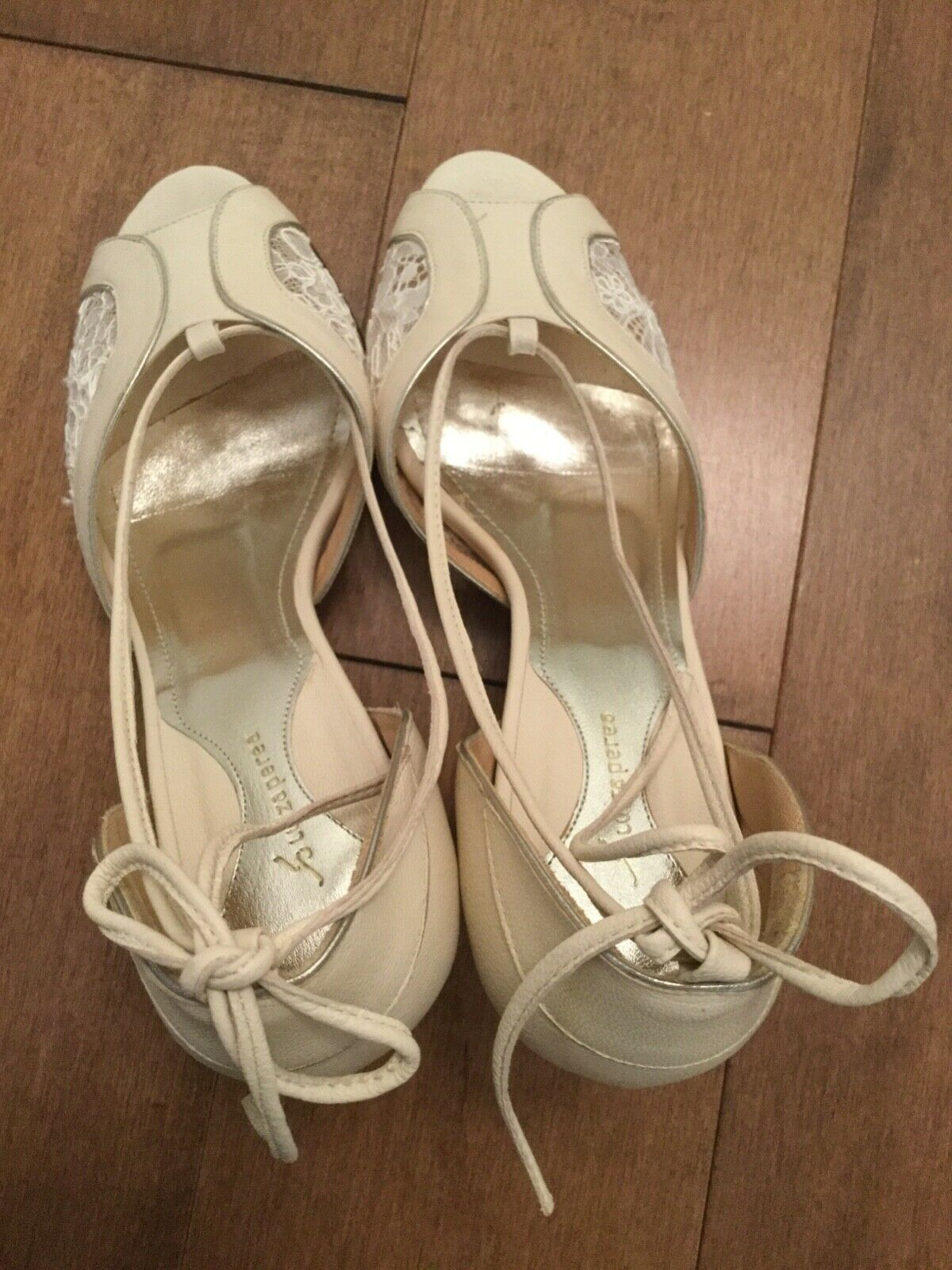 Anthropologie Ruiza Perea Lace Paneled Heels ERU 37 Made Made Made in Brazil worn once fcaf68