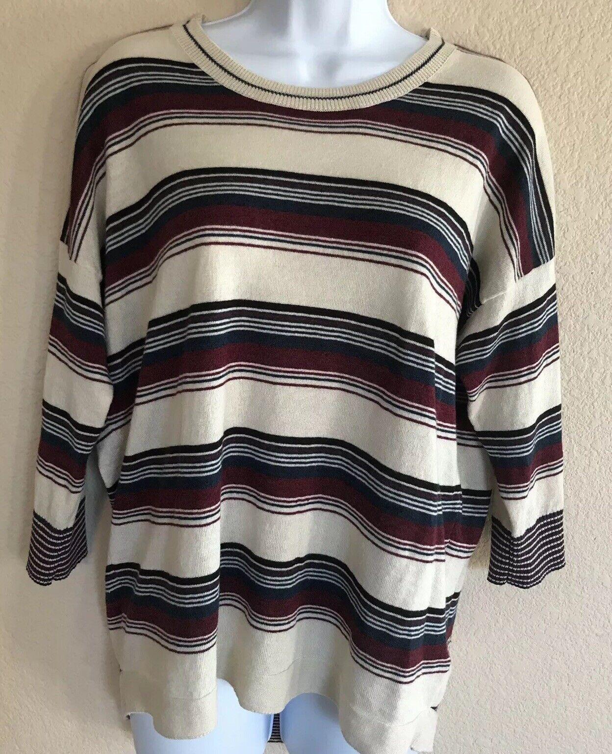 White Stuff Women'sSize US 6 Striped Knit Top