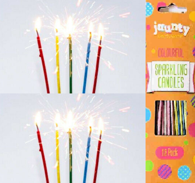 18 X Sparkling Candles Long Colour Decorations Birthday Cakes Party Wedding