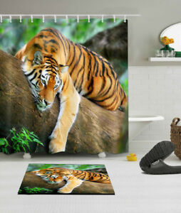 Animal Print Tiger on Tree Fabric Shower Curtain Set Sheer ...