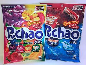 2-BAG-SET-UHA-Mikakuto-Japan-Puccho-Puchao-Chewy-Candy-4-Fruit-Mix-amp-Cola-Soda