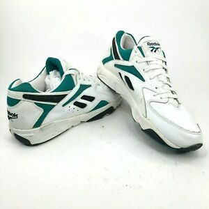 6d4704ba Vintage 90s Reebok Mens 15 White Green Black Training Running Shoes ...
