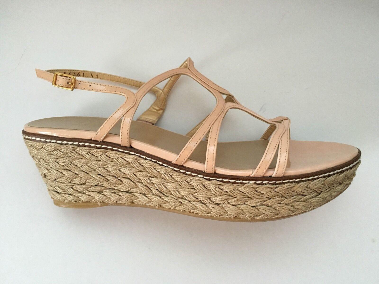 Sconto del 70% a buon mercato Stuart Weitzman Blush Patent Patent Patent Leather Strappy Espadrille scarpe Wedge Sandals 10  grande sconto