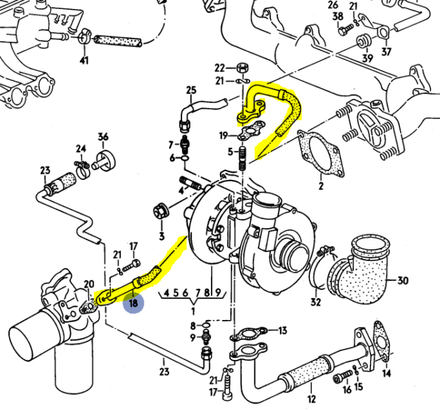 Audi 200q 3b 5 Cylinder 1991 Oil Feed Line To Turbo Charger