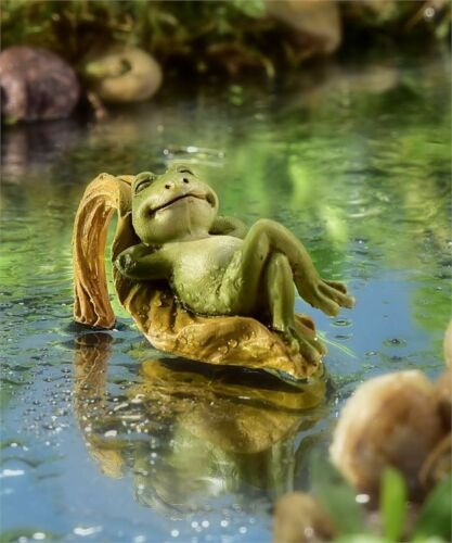 Miniature Dollhouse Fairy Garden Frog Relaxing on Leaf - Buy 3 Save $5