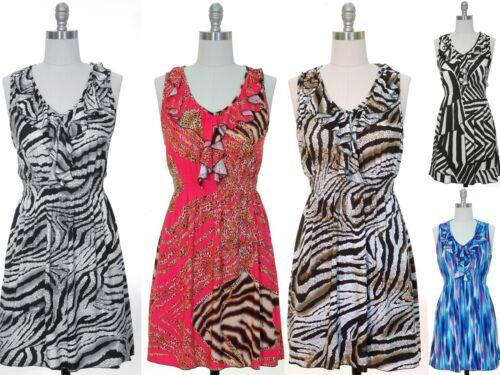 NWT Women Sleeveless Ruffle Knit Smocked Waist Dress FREE Shipping!