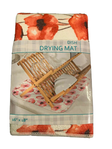 "Machine Washable NWT Honey-Can-Do Poppies Dish Drying Mat 16""x18"""